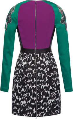 Antonio Berardi Printed Jacquard Sheath Dress With Embroidered Sleeves