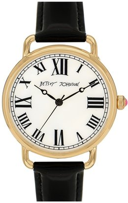 Betsey Johnson Round Dial Leather Strap Watch, 42mm