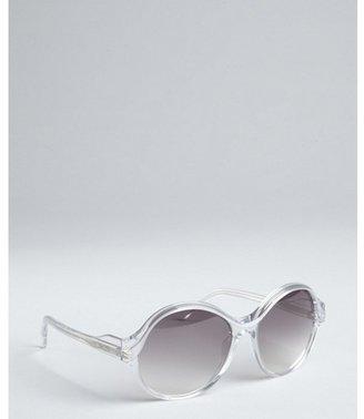 Balenciaga pearl and clear acrylic oversized round sunglasses
