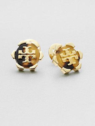 Tory Burch Walter Logo Button Earrings