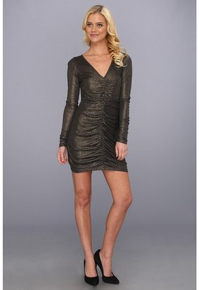 LAmade Longsleeve V-Neck Dress With Shirring (Anthrocite/Gold) - Apparel