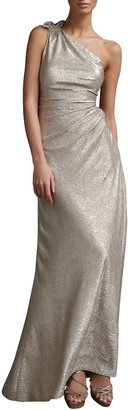 David Meister One-Shoulder Metallic-Print Gown