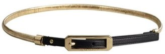 Vince Camuto black leather and gold chain skinny belt