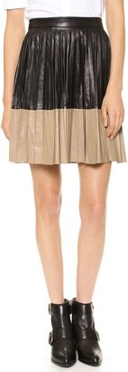 Robert Rodriguez Women's Pleated Color block Leather Flared Skirt