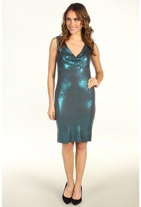 Nicole Miller Stretch Sequins Cowl Neck Short Dress (Turquoise) - Apparel