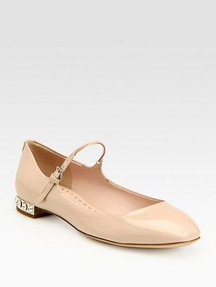 Miu Miu Patent Leather Rhinestone-Heel Mary Jane Flats