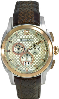 Tommy Bahama Watch, Men's Swiss Chronograph Dark Brown Textured Leather Strap 44mm TB1156