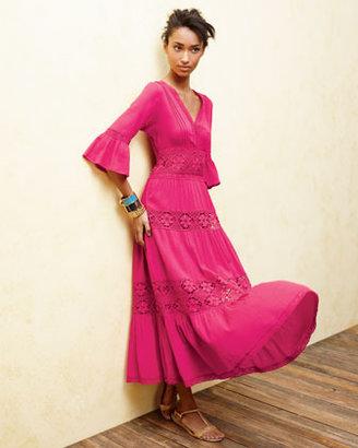 Neiman Marcus Lace-Insert Gauze Dress