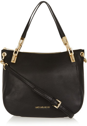 MICHAEL Michael Kors - Brooke Large Textured-leather Shoulder Bag - Black $360 thestylecure.com
