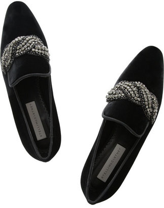Stella McCartney Crystal-embellished velvet slippers