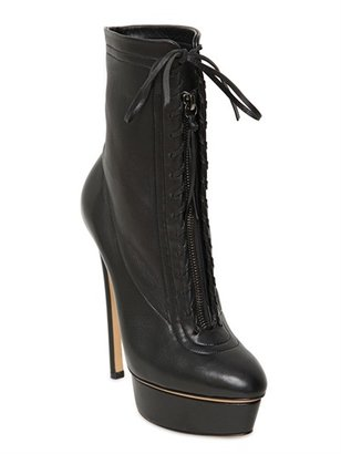 Casadei 150mm Calfskin Lace Up Low Boots