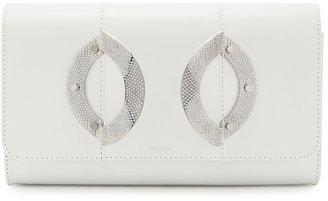 Perrin Paris La Croisiere White Leather Clutch