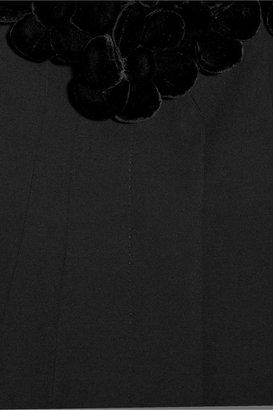 Moschino Velvet flower-embellished wool-twill coat