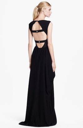 Alice + Olivia 'Gretchen' Cowl Neck Open Back Gown