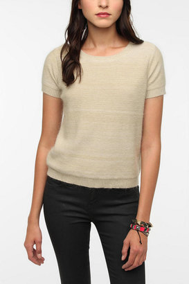 Urban Outfitters Pins and Needles Marled Knit Angora Short-Sleeved Sweater