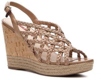 Prada Woven Leather Wedge Sandal