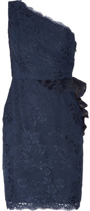 Notte by Marchesa One-shoulder ruffled lace dress