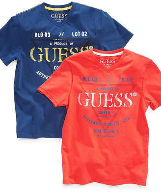 GUESS T-Shirt, Little Boys Graphic V-Neck Tee