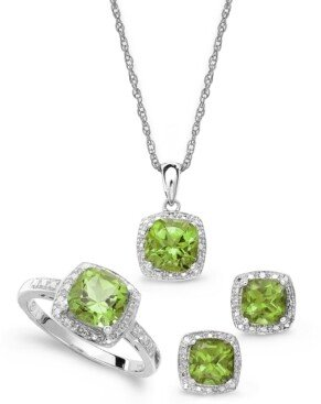 Macy's Sterling Silver Jewelry Set, Peridot (4-3/4 ct. t.w.) and Diamond Accent Necklace, Earrings and Ring Set