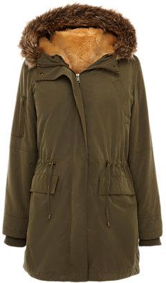 Oasis Faux Fur Lined Parka Coat, Khaki