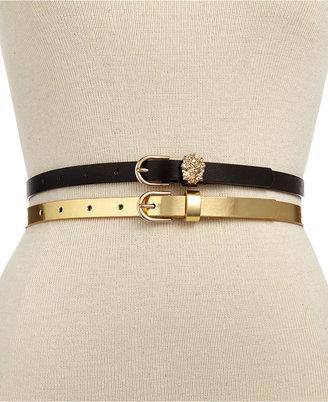 Material Girl Belt, 2 for 1 Black Lion Head & Gold Skinny