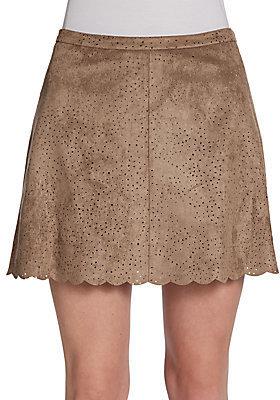 BCBGMAXAZRIA Perforated Ultrasuede A-Line Mini Skirt