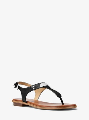 MICHAEL Michael Kors Logo Plaque Leather Sandal