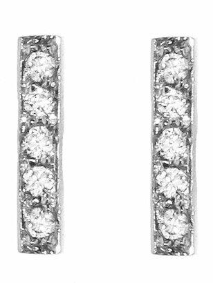 Jennifer Meyer Diamond Bar Stud Earrings - White Gold