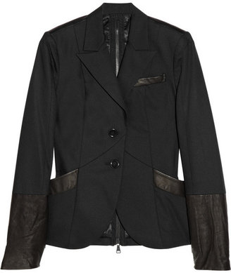 Alice + Olivia Tucker leather-trimmed blazer