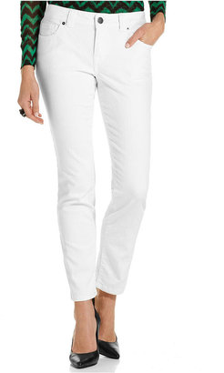 INC International Concepts Petite Jeans, Curvy-Fit Skinny Ankle-Length, White Wash