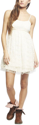 Babydoll Tiered Floral Lace Dress