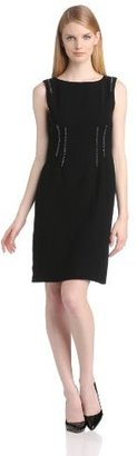 Anne Klein Women's Trimmed Luxe Crepe A-Line Dress