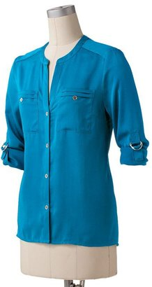 Dana Buchman roll-tab satin shirt