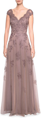 La Femme Embellished Floral Lace Cap-Sleeve Tulle A-Line Gown