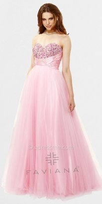 Faviana Strapless Tulle Beaded Ball Gowns