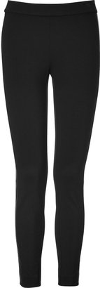 DKNY Slim Stretch Pants with Leather Trim