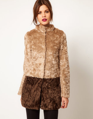 Warehouse Block Faux Fur Coat