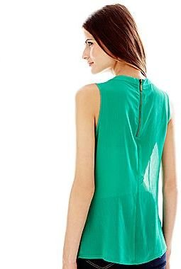 JCPenney Duro Olowu for jcp Ruffle-Front Blouse - Green
