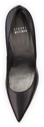 Stuart Weitzman Nouveau Leather Point-Toe Pump, Adobe