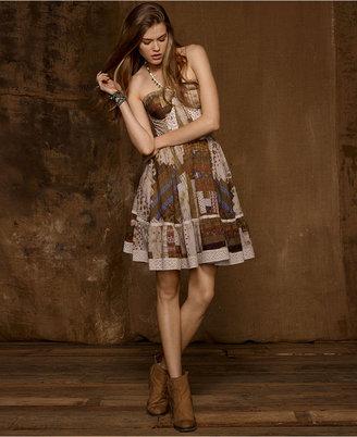 Denim & Supply Ralph Lauren Strapless Patchwork Lace-Trim A-Line Dress