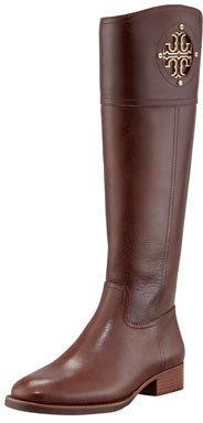 Tory Burch Kiernan Leather Logo Riding Boot, Almond