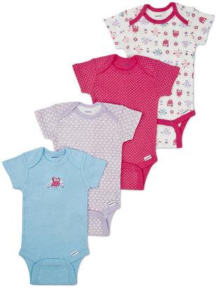 Gerber Girls 4 Pack Short Sleeve Bodysuits