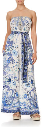 Camilla Strapless Self-Tie Paisley-Print Jumpsuit