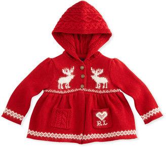 Ralph Lauren Reindeer Fair Isle Hooded Cardigan, Red, 9-24 Months