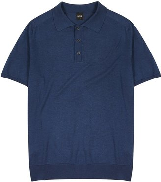 HUGO BOSS Ipaolo Navy Knitted Cotton Polo Shirt