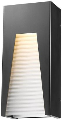 Filament Design Farran 75-Watt Equivalent Outdoor Black Silver Integrated LED Wall Mount Sconce with Frosted Ribbed Glass Shade