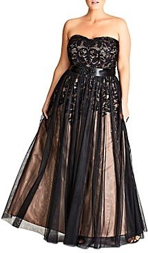 City Chic Strapless Embellished Tulle Gown