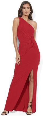 Lauren Ralph Lauren Dress, One-Shoulder Jersey Ruched Gown