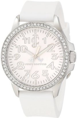 Juicy Couture Women's 1900961 Jetsetter White Silicone Strap Watch $100 thestylecure.com