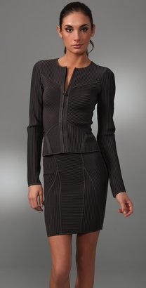 Herve Leger Engineered Ottoman Knit Jacket